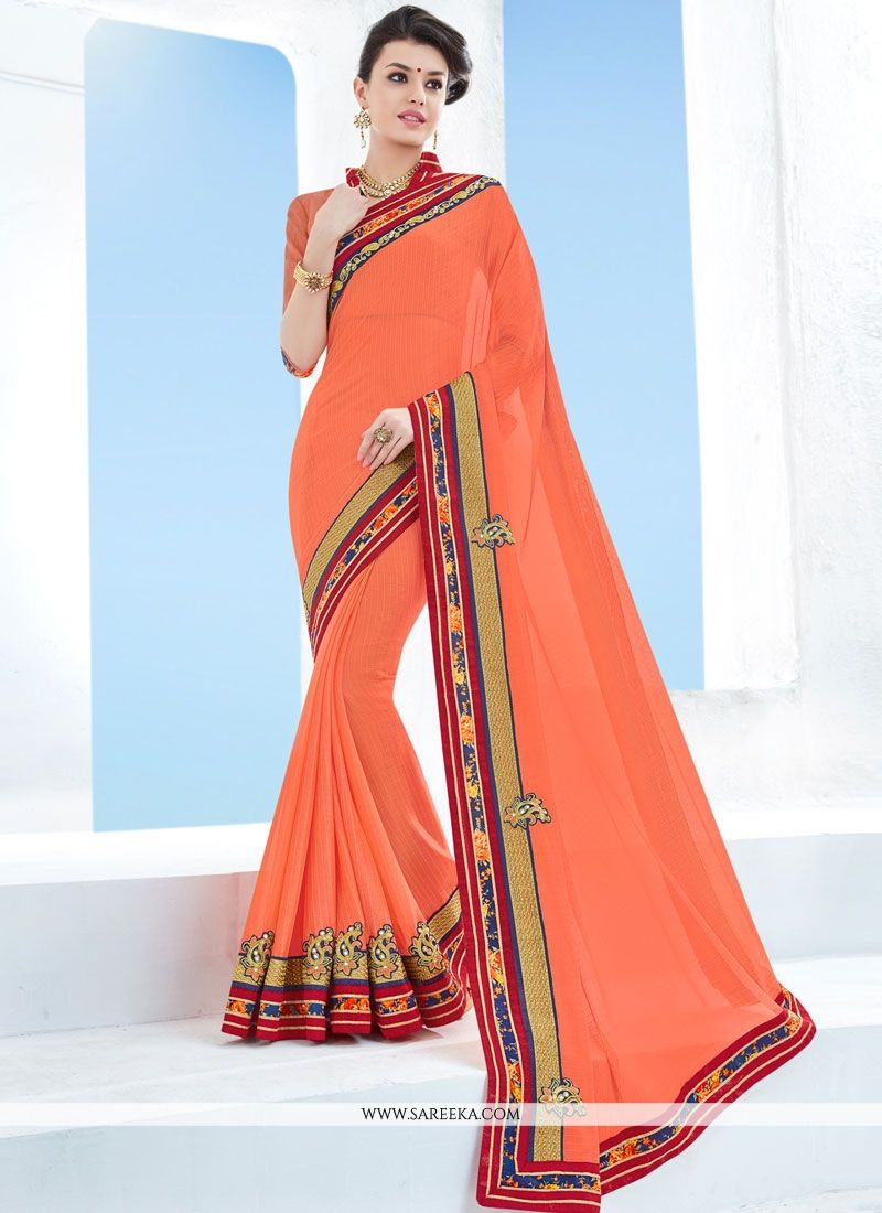 Patch Border Work Orange Faux Chiffon Classic Saree