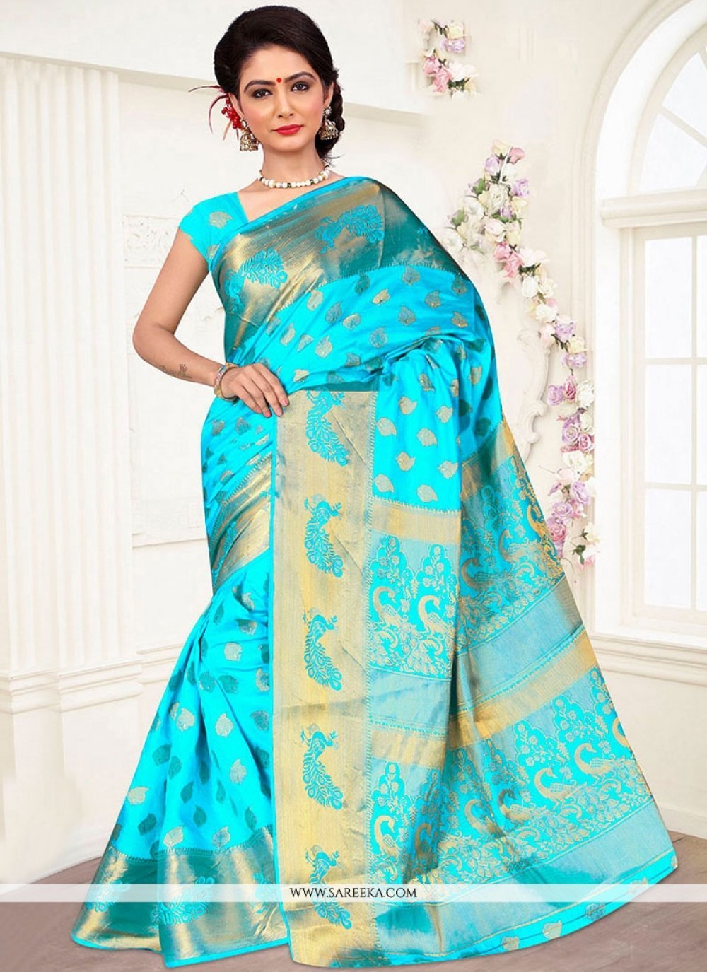 Turquoise Weaving Work Banarasi Silk Designer Traditional Saree