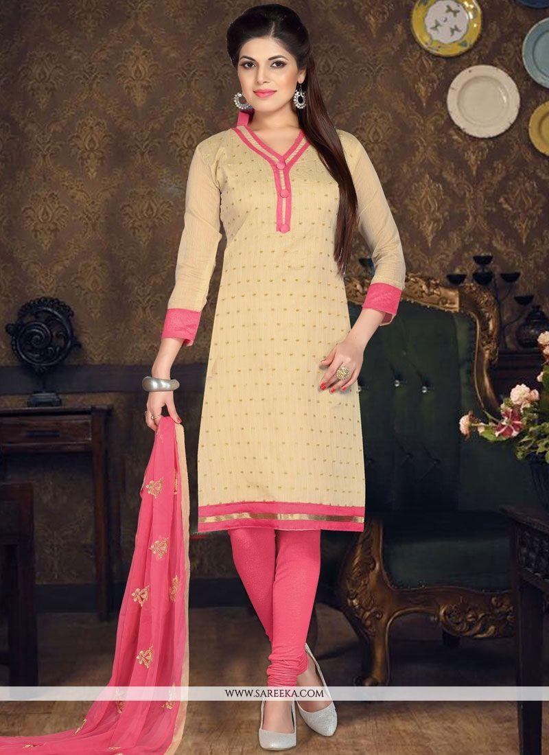 Beige Embroidered Work Chanderi Cotton Churidar Suit