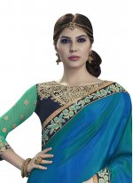 Blue and Sea Green Embroidered Work Georgette Designer Half N Half Saree
