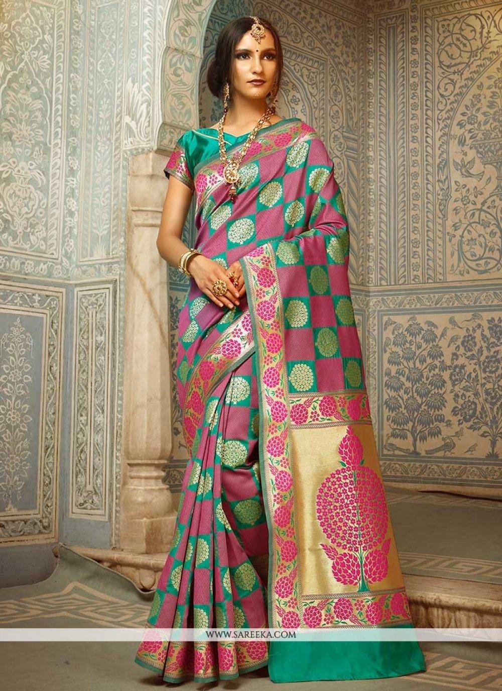 Pink and Sea Green Handloom silk Designer Traditional Saree