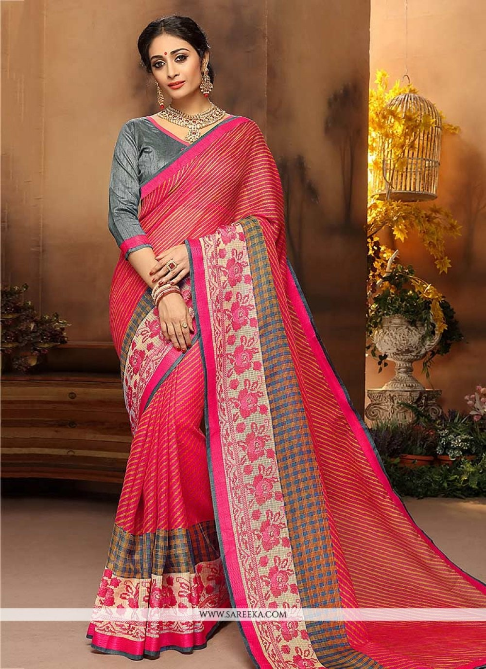 Pink Embroidered Work Traditional  Saree
