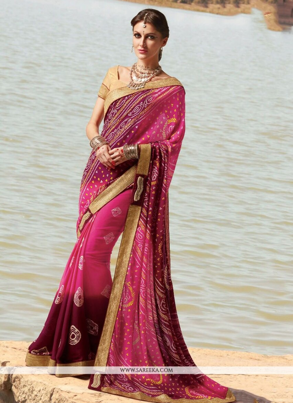 Pink Faux Georgette Printed Saree