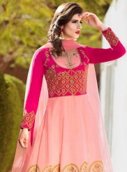 Pink Resham Work Banglori Silk Floor Length Anarkali Suit