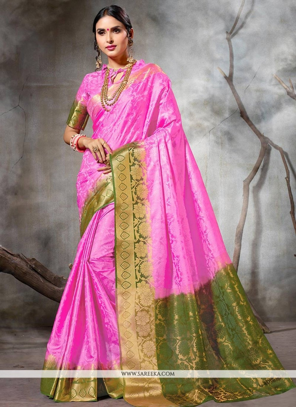 Pink Traditional Designer Saree