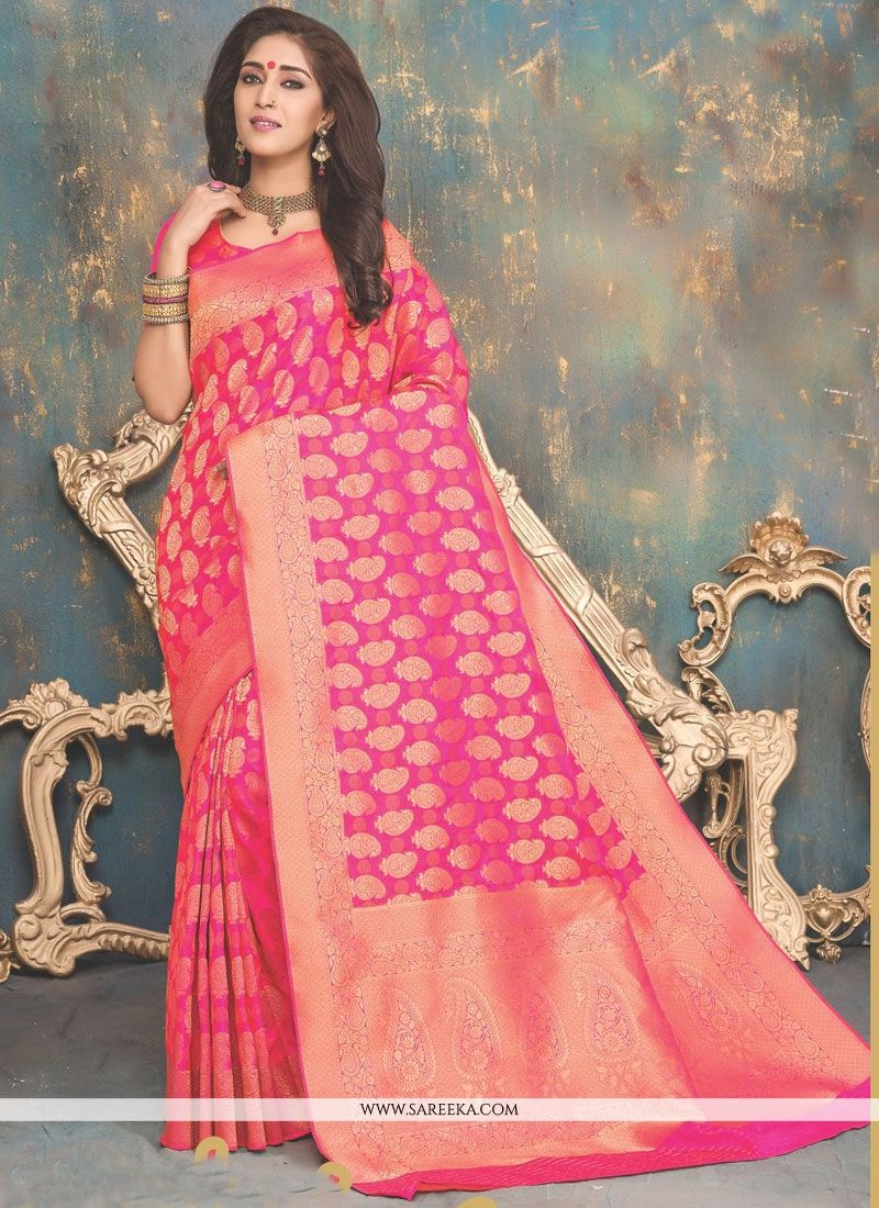 Banarasi Silk Hot Pink Weaving Work Designer Traditional Saree