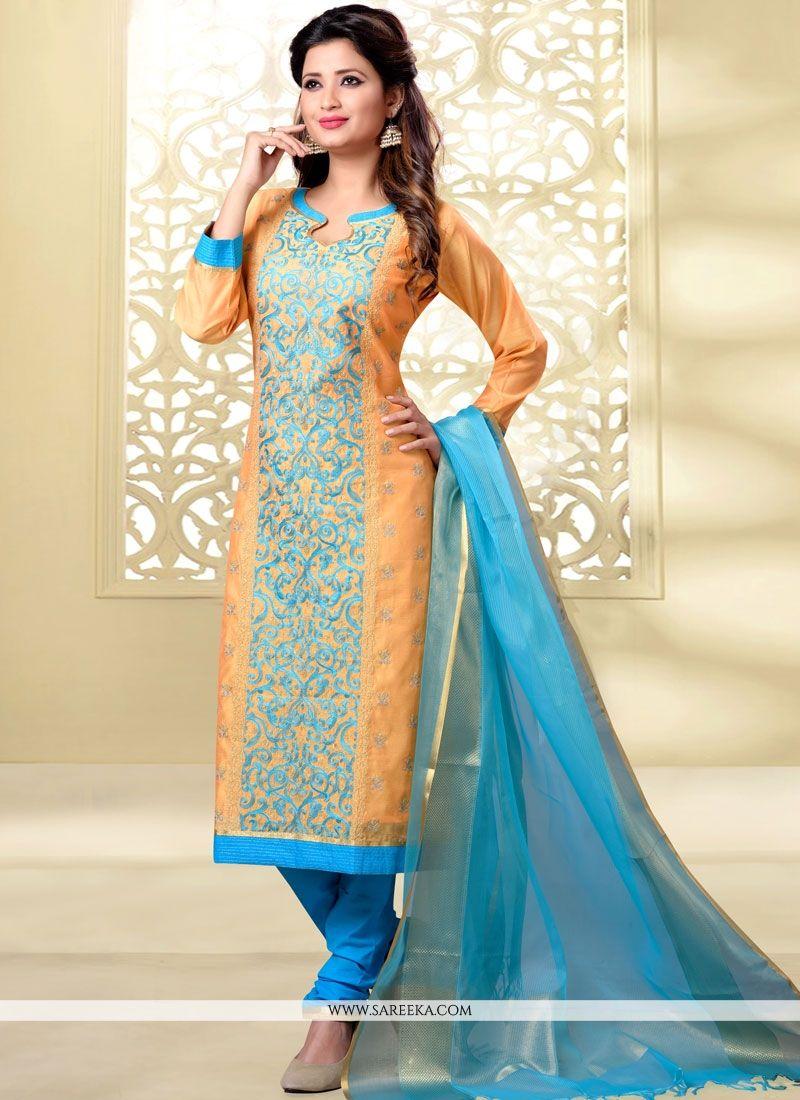 Blue and Mustard Churidar Designer Suit