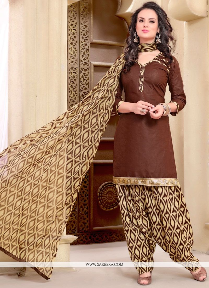 Piquant Cotton   Brown Punjabi Suit