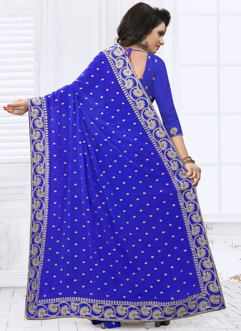 e5a8e40f02f Faux Georgette Blue Saree Faux Georgette Blue Saree