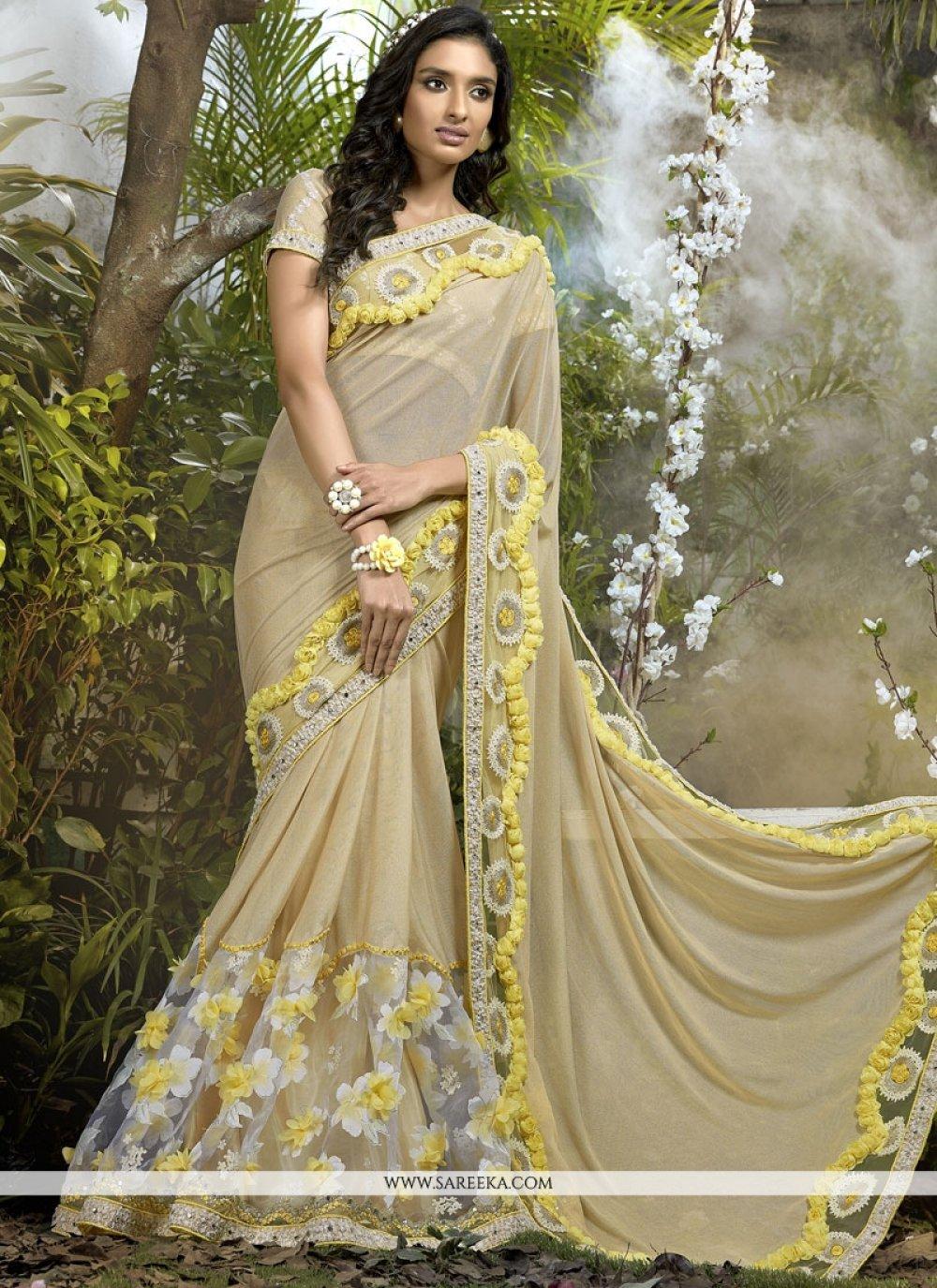 Net Beige Classic Designer Saree