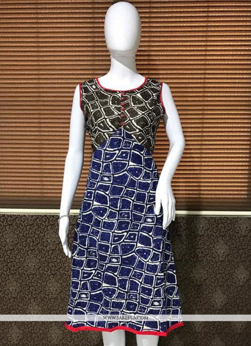 Print Work Cotton   Blue Party Wear Kurti