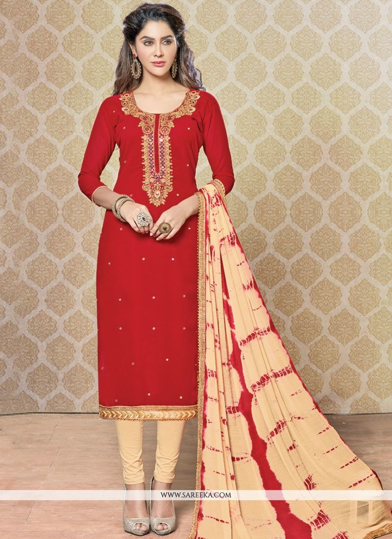 Beige and Red Churidar Designer Suit