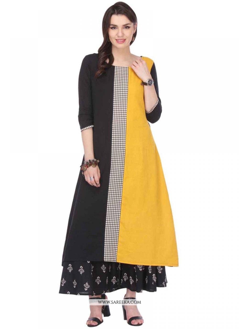 Rayon Black and Yellow Print Work Party Wear Kurti