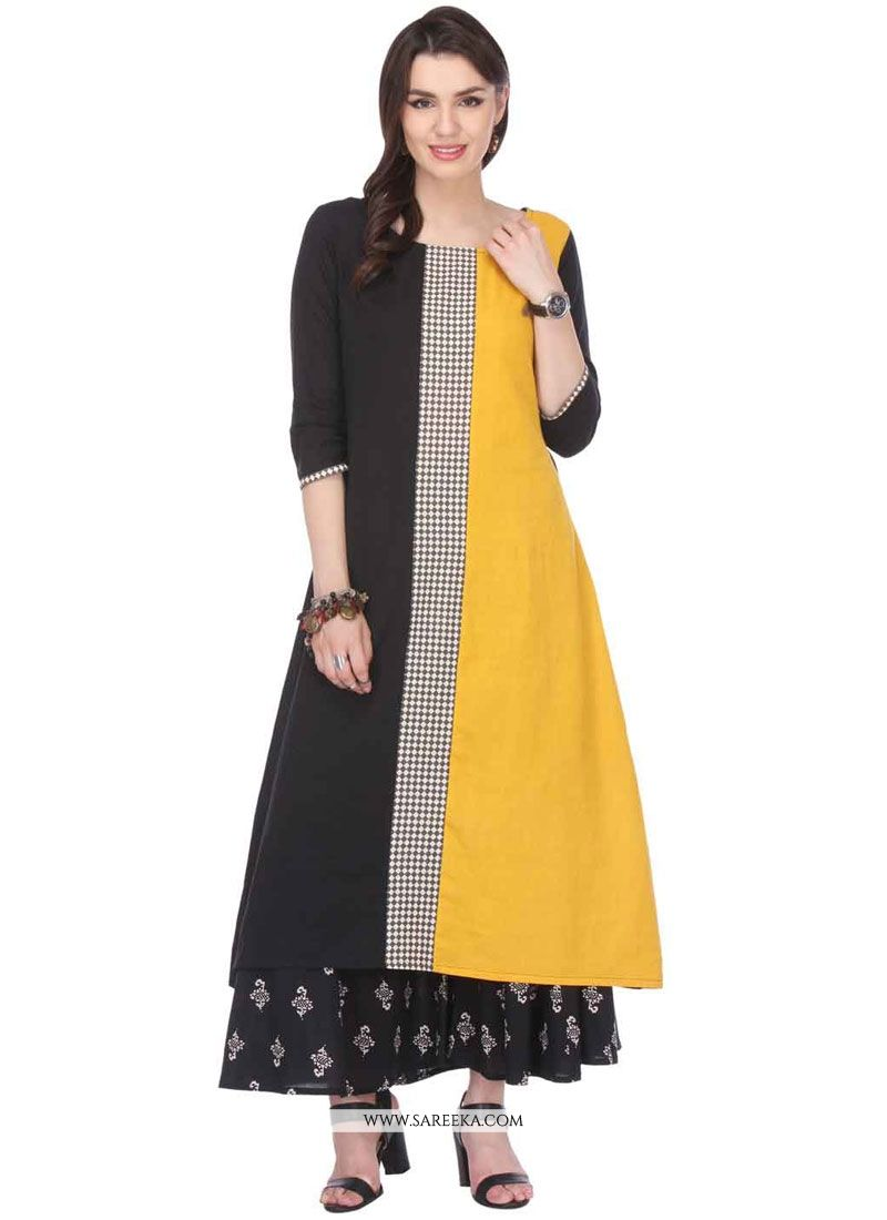 Rayon Black and Yellow Print Work Party Wear Kurti