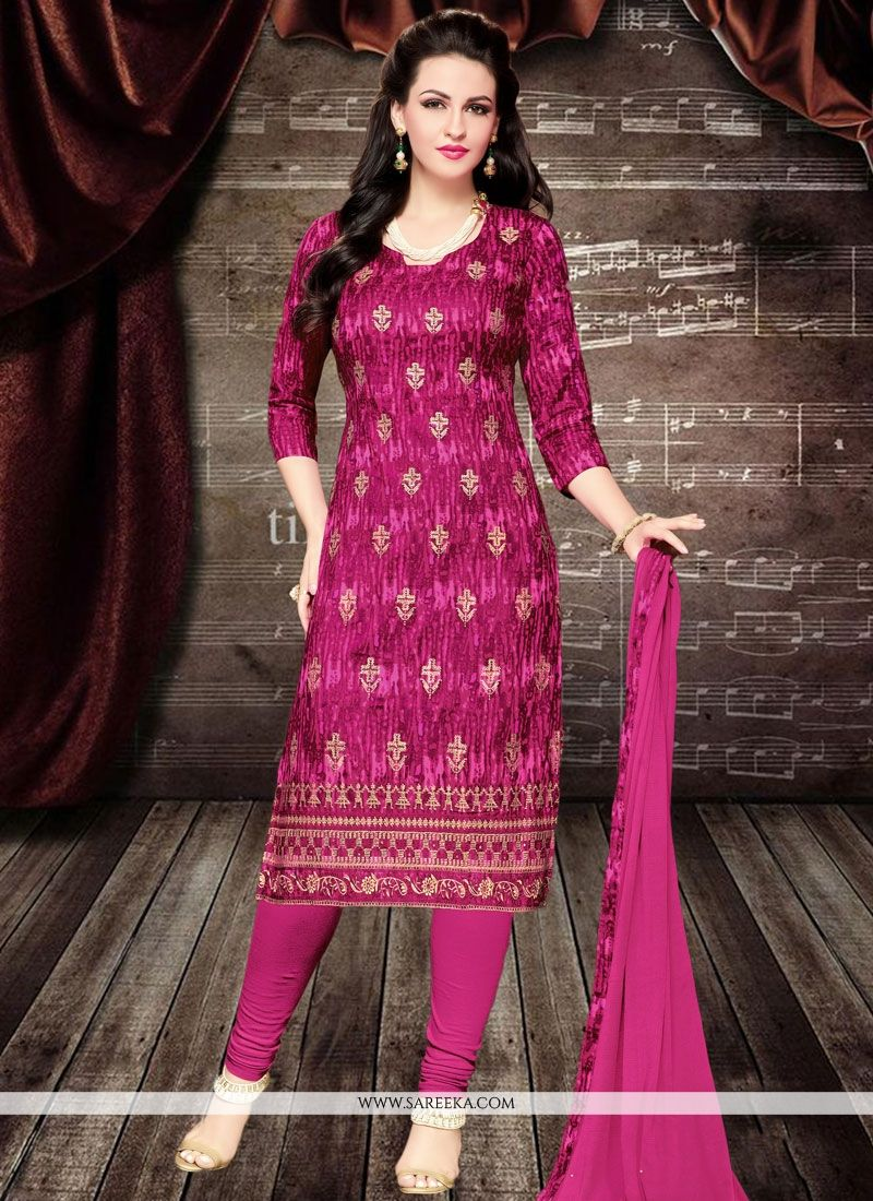 Embroidered Work Cotton   Churidar Designer Suit