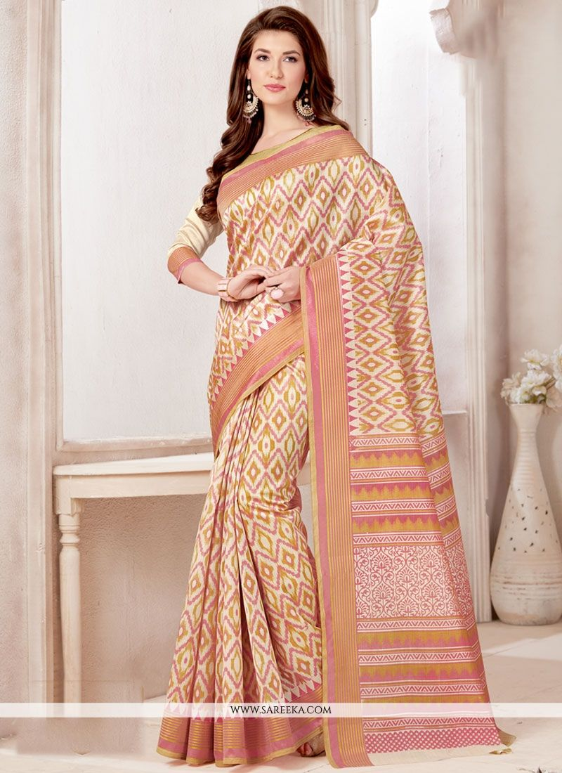 Print Work Tussar Silk Casual Saree