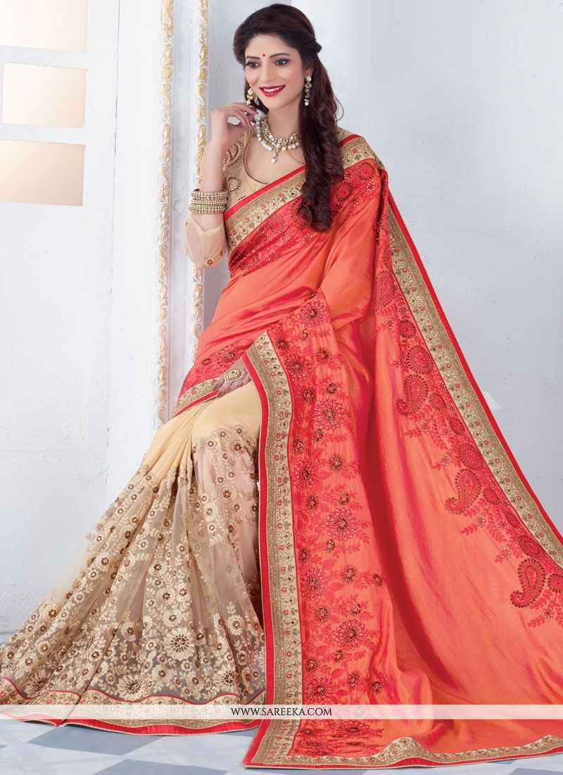 Beige and Peach Embroidered Work Half N Half Designer Saree