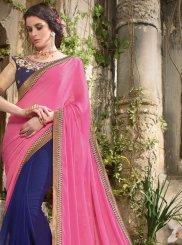 Patch Border Work Blue and Hot Pink Half N Half Designer Saree