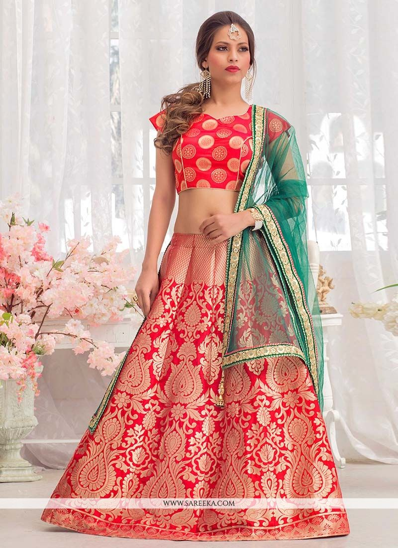 Red Floral Patterns Work Jacquard Silk Lehenga Choli