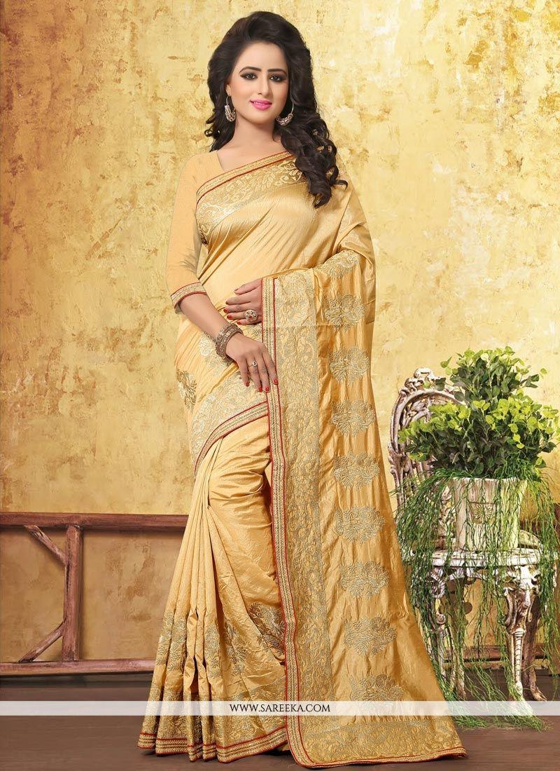 Art Silk Beige Traditional  Saree