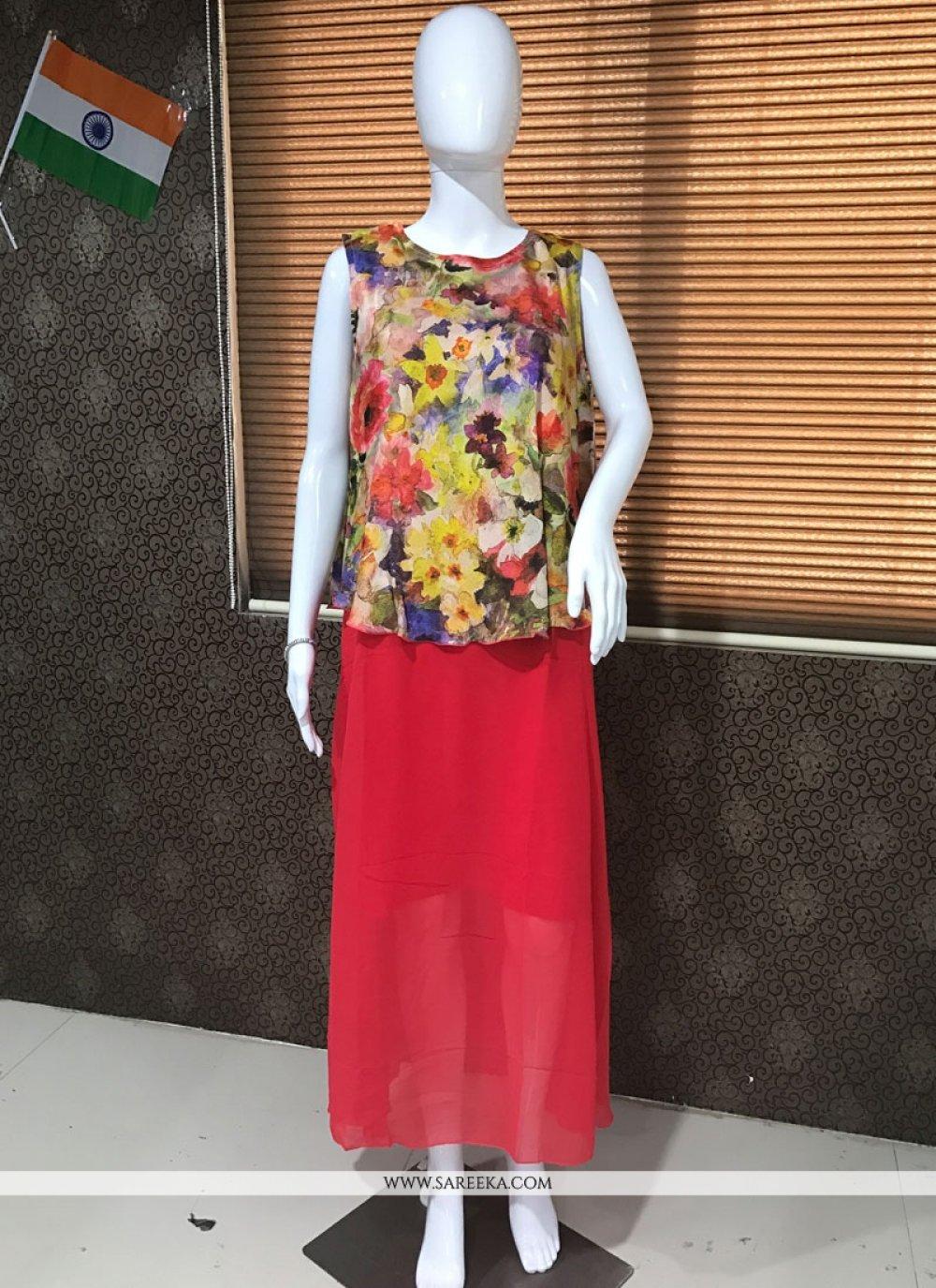 Multi Colour Print Work Faux Georgette Party Wear Kurti