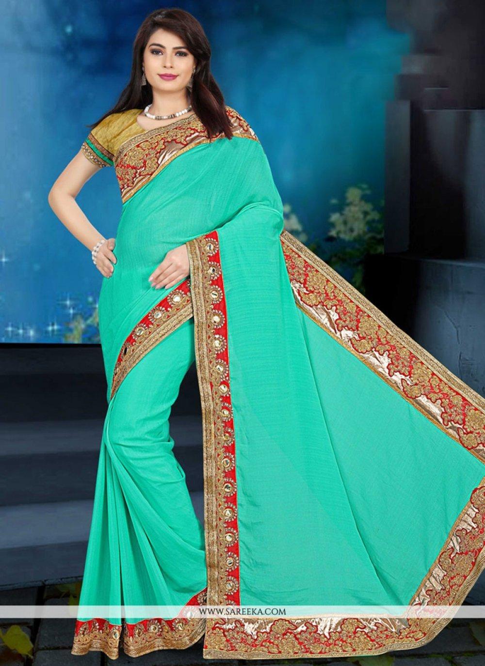 Sea Green Embroidered Work Art Silk Designer Traditional Saree