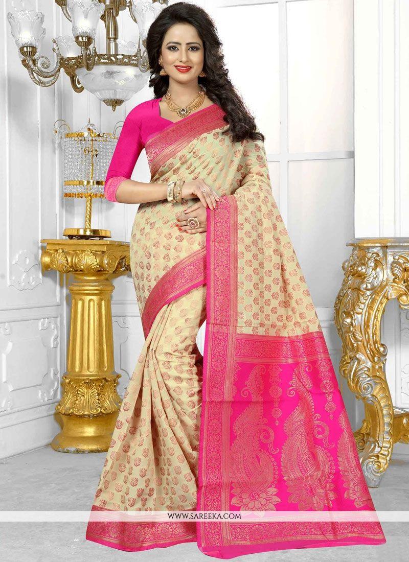 Banarasi Silk Cream Traditional Designer Saree