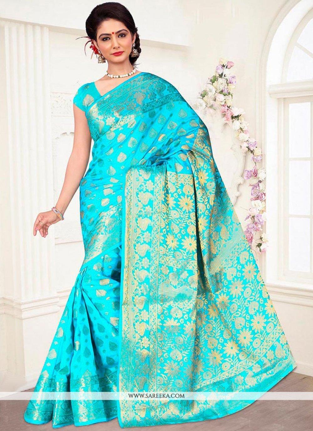 Banarasi Silk Turquoise Designer Traditional Saree