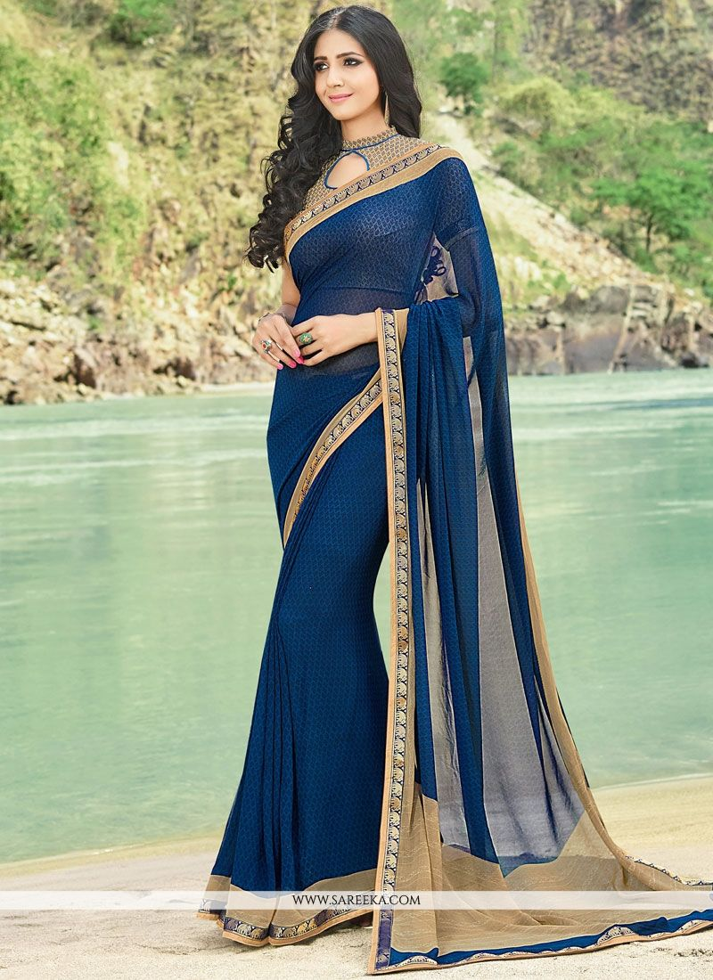 2f84ca9e19 Buy Faux Georgette Navy Blue Lace Work Designer Saree Online : UAE -