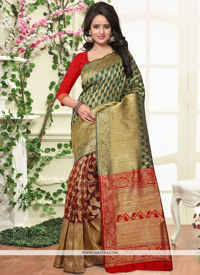 Green and Red Weaving Work Designer Traditional Saree