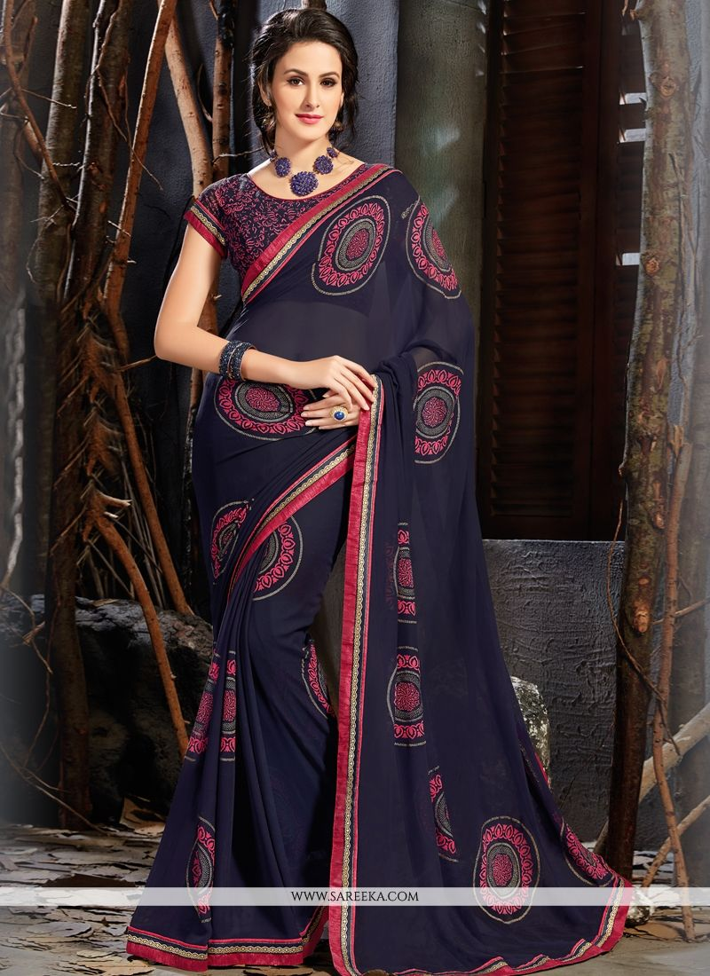 f3224327db7 Buy Faux Georgette Navy Blue Printed Saree Online   Italy -