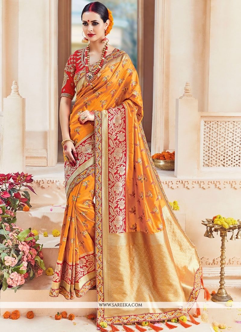 Art Silk Mustard Embroidered Work Traditional Designer Saree