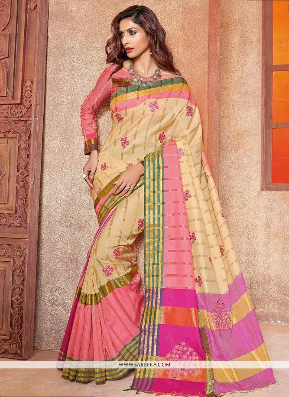 Cotton Silk Cream Embroidered Work Traditional  Saree