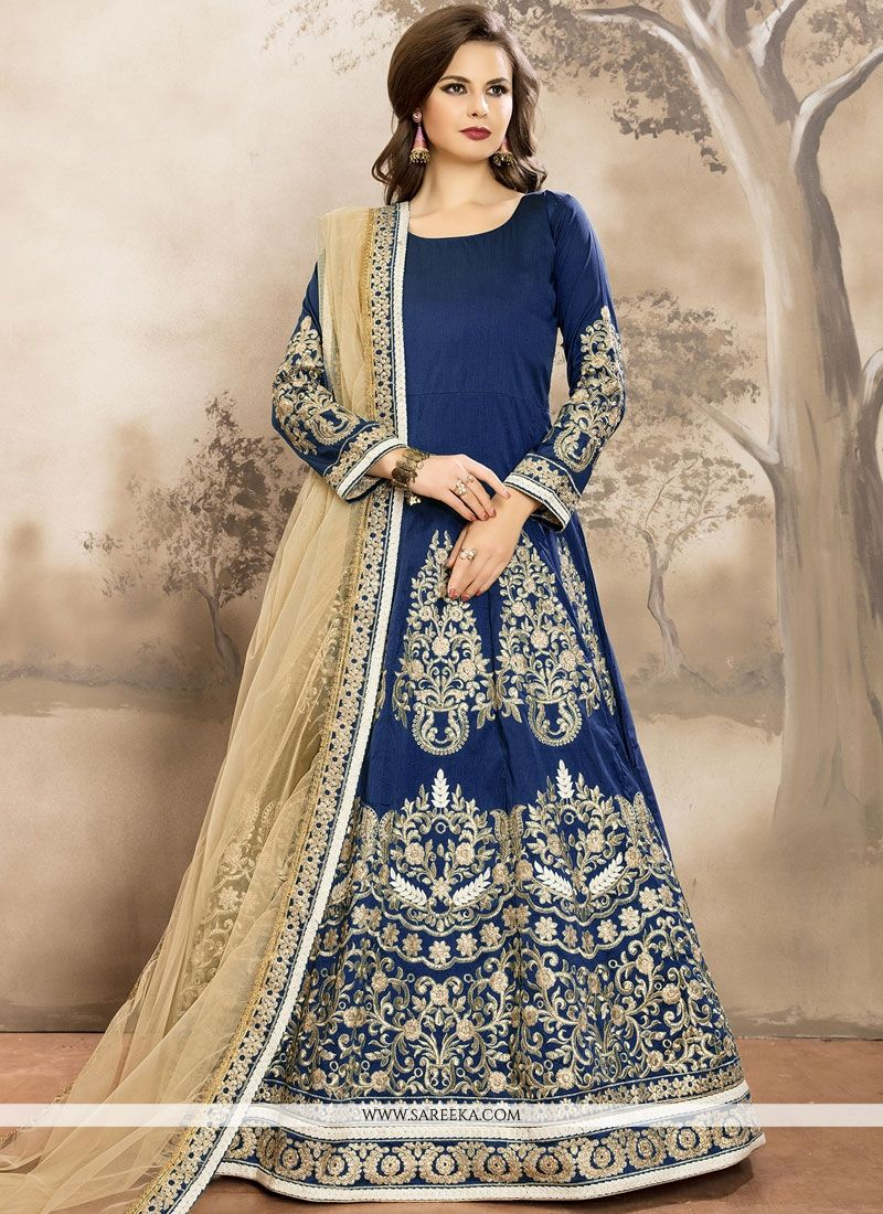 Tafeta silk Blue Lace Work Floor Length Anarkali Suit
