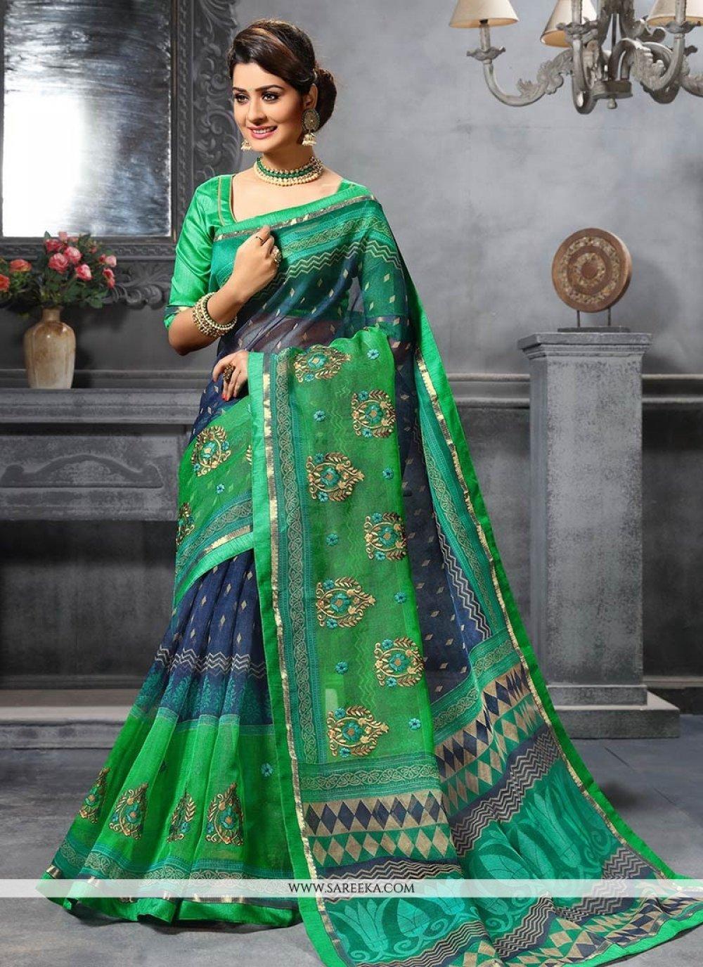 Print Art Silk Traditional  Saree in Multi Colour