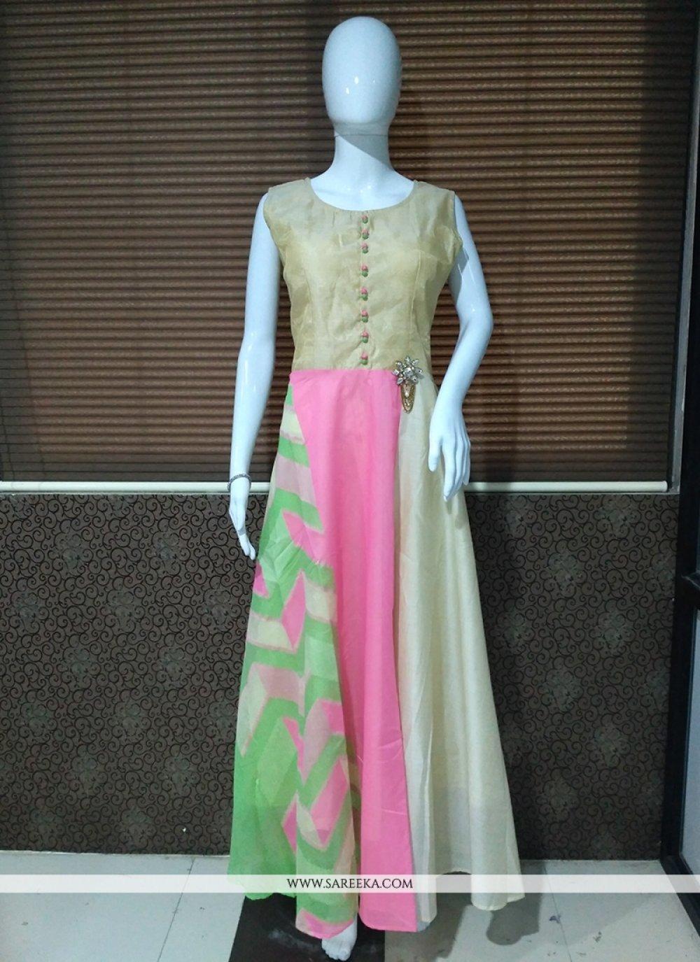 Print Banarasi Silk Readymade Gown  in Pink