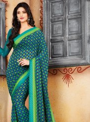 Print Faux Crepe Casual Saree in Green