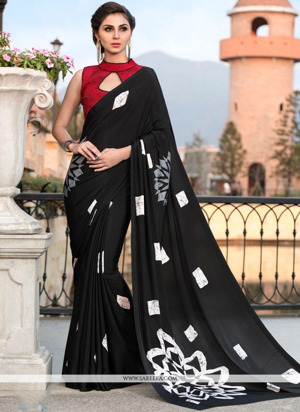 Print Faux Crepe Printed Saree in Black