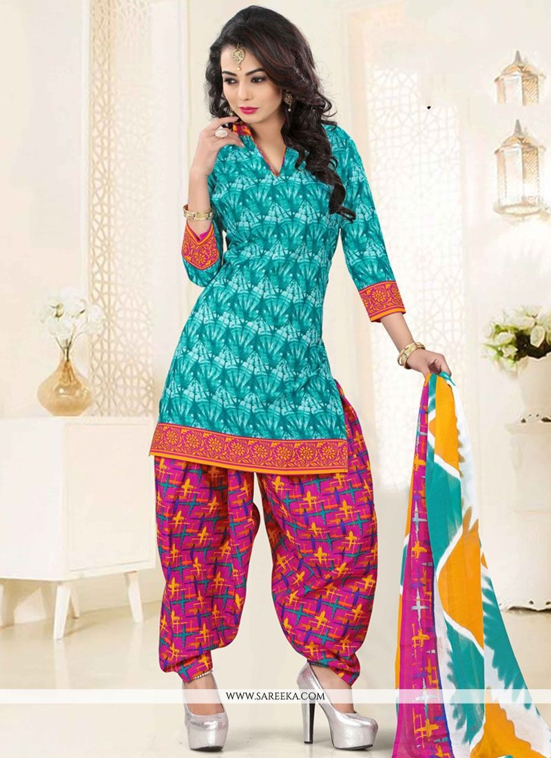 Buy Print Polly Cotton Punjabi Suit in Multi Colour Online : USA, UK -