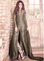 Print Tussar Silk Designer Suit in Grey and Pink