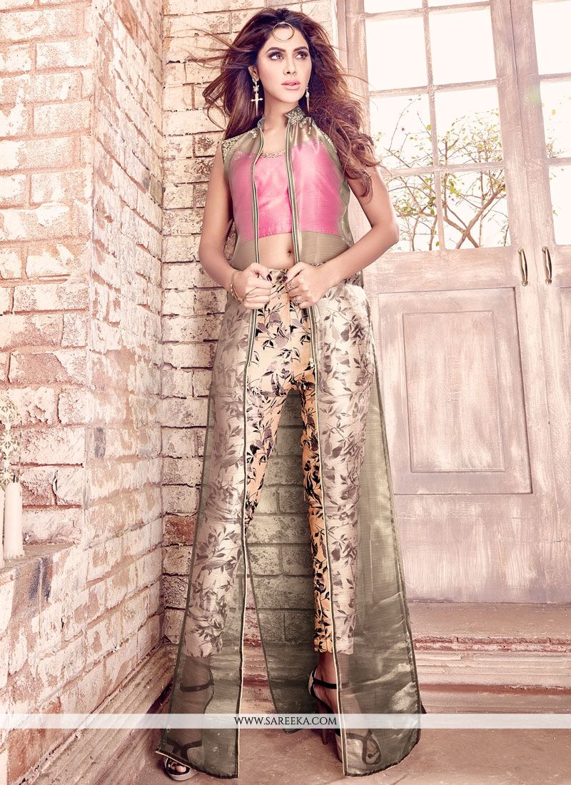Print Tussar Silk Designer Suit in Grey and Pink
