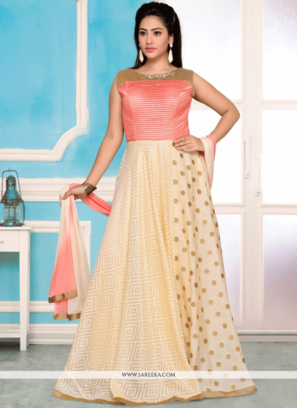 Print Work Art Silk Readymade Anarkali Suit