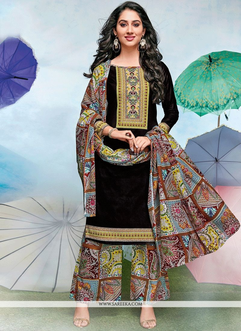 be204fa338 Shop Online Print Work Black Cotton Designer Palazzo Suit : 63767 -