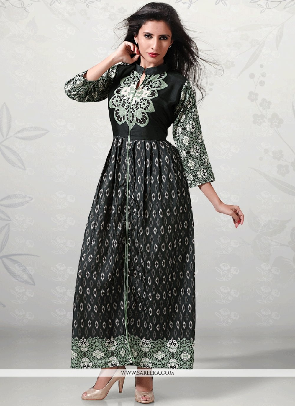 Print Work Black Cotton   Party Wear Kurti