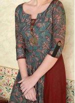 Print Work Cotton Satin Floor Length Anarkali Suit