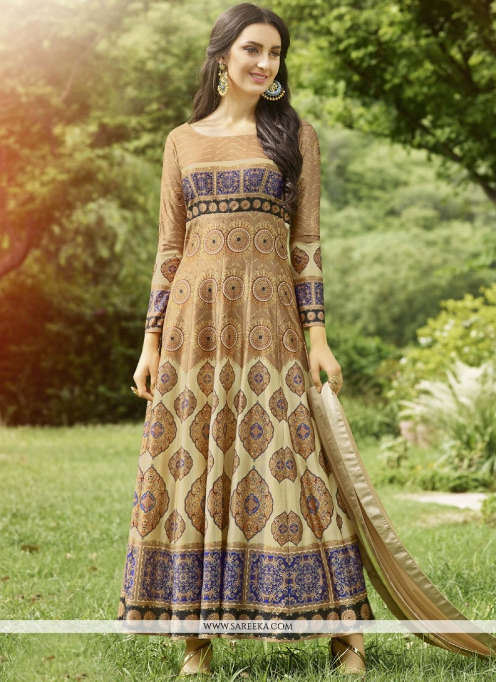 Print Work Fancy Fabric Floor Length Anarkali Suit