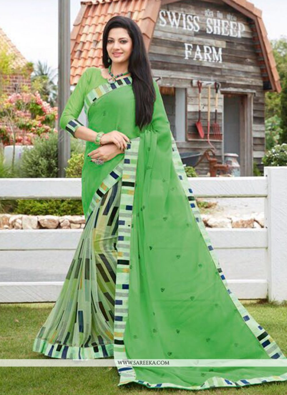 Print Work Faux Georgette Casual Saree
