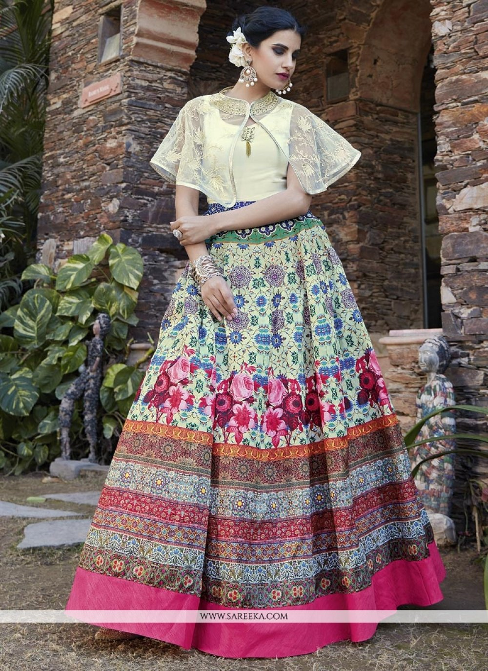 Print Work Floor Length Anarkali Suit
