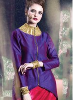 Print Work Hot Pink and Purple Party Wear Kurti