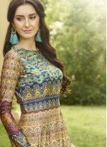 Print Work Multi Colour Fancy Fabric Floor Length Anarkali Suit